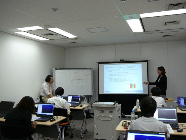 Carolyn Dear teaching the Glyph scripting course in Tokyo
