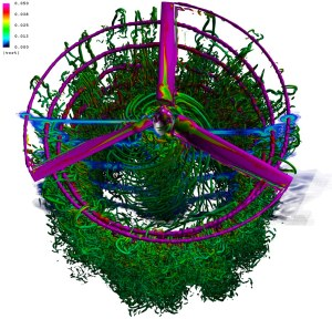 """CFD simulation of a V-22 rotor showing """"turbulent worms."""""""