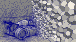 Polyhedral mesh around an F-1 car in Caedium v5. Image from Symscape.