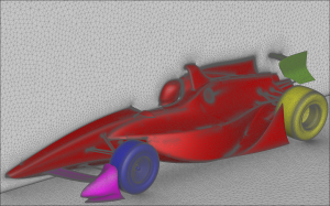 Hybrid mesh generated with Pointwise's T-Rex for a proposed IndyCar 2012 design. Image from Swift Engineering.