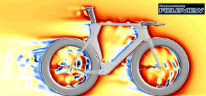 Velocity field around a racing bicycle with Zipp Firecrest 808 wheels. CFD solution by CD-adapco's STAR-CCM+, visualization by Intelligent Light's FieldView. Image from Digital Manufacturing Report.