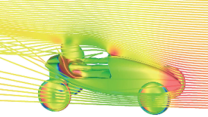 STAR-CCM+ solution of flow over a soapbox derby car. Image from CD-adapco.
