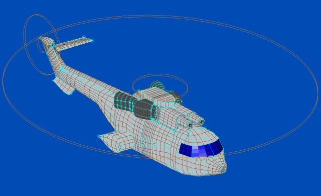ShipIR mesh of Eurocopter AS332 Super-Puma meshed with Pointwise