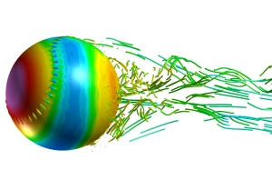 Figure 3: Pressure on the baseball surface and streamlines in its wake