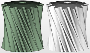 Visual comparison of  precise (left) and tessellated (right) representations of a gear. Image from GrabCAD.