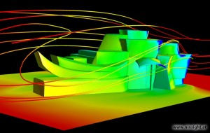 Streamlines around and surface pressure on the Guggenheim Museum. Image from NInsight, Inc. and ANSYS.