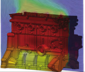 Temperature in an engine block, simulation and image by Mentor Graphics.