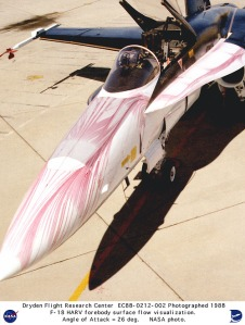 FYFD shares how flow viz isn't limited to CFD with this photo of surface streaklines on the upper forebody of an F-18 at 26 degrees angle of attack.