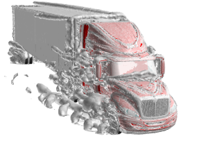 Rendering done in FieldView of flow over a truck. Image from Intelligent Light.