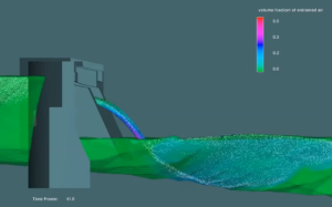 Video of a FLOW-3D simulation of dam discharge. Click image to play video.