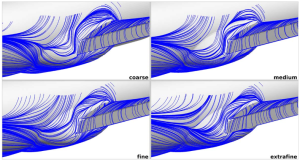 Streamlines showing the effect of grid resolution on side body flow for the High Lift Prediction Workshop geometry. Image is a screen capture from the paper by Intelligent Light cited above.