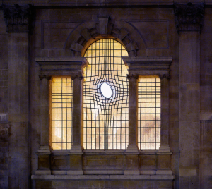The east window of the Church of St. Martin in the Fields, London, was designed by Shirazeh Houshiary.