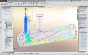 Screen capture from the video of SolidWorks Flow Simulation 2014 cited above.