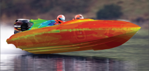 Hull pressure contours from a FloEFD solution are superimposed on this photograph of a racing boat. From the paper referenced above.