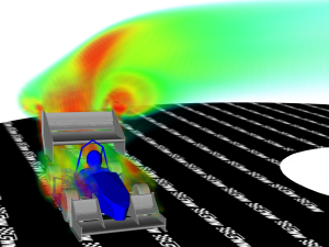 CFD simulation of Monash University's Formula SAE car in a turn with turbulent kinetic energy shown. Image from the Leap CFD blog.