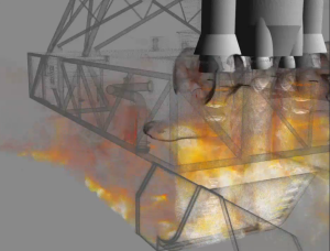The computation behind this flame trench simulation by NASA took a week on a 960 core supercomputer. Image from the NAS flickr page. Click image for video.