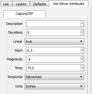 The CAE/Set Solver Attributes Dialog Box