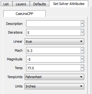 The CAE/Set Solver Attributes Dialog Box