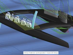 CFD solution for Oracle Team USA's catamaran computed using STAR-CCM+. Image from Desktop Engineering.