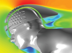 CFD solution from STAR-CCM+ for a Louis Garneau cycling helmet. Image from HPC Magazine.