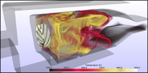 Volume rendering of combustion chamber temperature. Simulation and visualization from STAR-CCM+ v9. Image from CD-adapco.