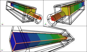 Caedium CFD solution for internal flow with geometry defined by a solid model. Image from Symscape.