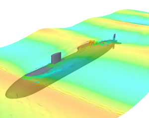 CFD simulation of wave impact loading on a submarine hull. Simulation by the Naval Surface Warfare Center. Image from ENGINEERING.com.