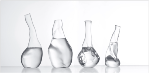 Transparente: glass carafes sculpted to represent water quality. Image from the MecSoft blog.