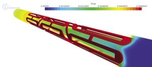 CFD simulation of flow through a blood vessel with a stent by STAR-CCM+. Image from Desktop Engineering.