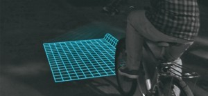 Hidden obstructions in the road are revealed by Lumigrids. Image from Gizmag.