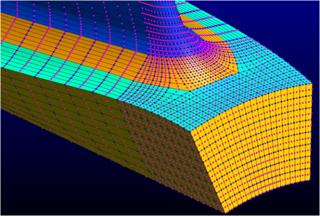 The inducer view of the centrifugal impeller illustrates the use of quadratic hexahedral elements. This mesh was generated automatically.