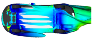 Tesla uses Exa PowerFLOW to evaluate aerodynamic performance in yaw. Image from SAE. Click image for article.