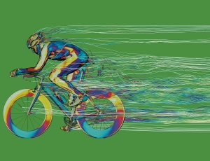 """""""CFD is perhaps the most colourful technique used in engineering,"""" is one quote from this article about CFD for a triathalon bicycle. 72% of the drag comes from what? Think before clicking the image for the article. Image from New Scientist."""