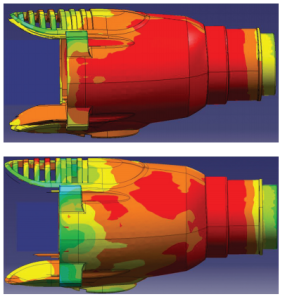 The effect of cooling fins (below) on the temperature of a hammer housing. Image from Mentor Graphics.