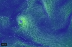 This real-time, animated flow viz will help you track how Hurricane Arthur is messing up July 4th for the U.S. East coast. Click image for website.