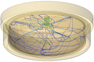 SolidWorks Flow Simulation of an espresso maker brew head. Image from the Solid Notes blog. Click image for article.