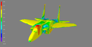 CFD solution for an F-15E computed using MicroCFD's 3D Virtual Wind Tunnel.