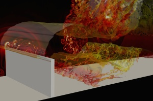 Flow simulation by PyFR over a 90 degree spoiler. Image from TechEnablement.com.