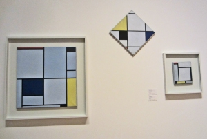 Three excellent examples of Mondrian's painting. Click image for source (a very nice article unto itself).