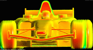 CFD solution for an F-1 race car from the CFD is the Future website. See link above.
