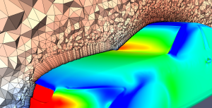 CFD solution for the DrivAer benchmark geometry computed in OpenFOAM on a mesh generated by Pointwise with results visualized in ParaView.