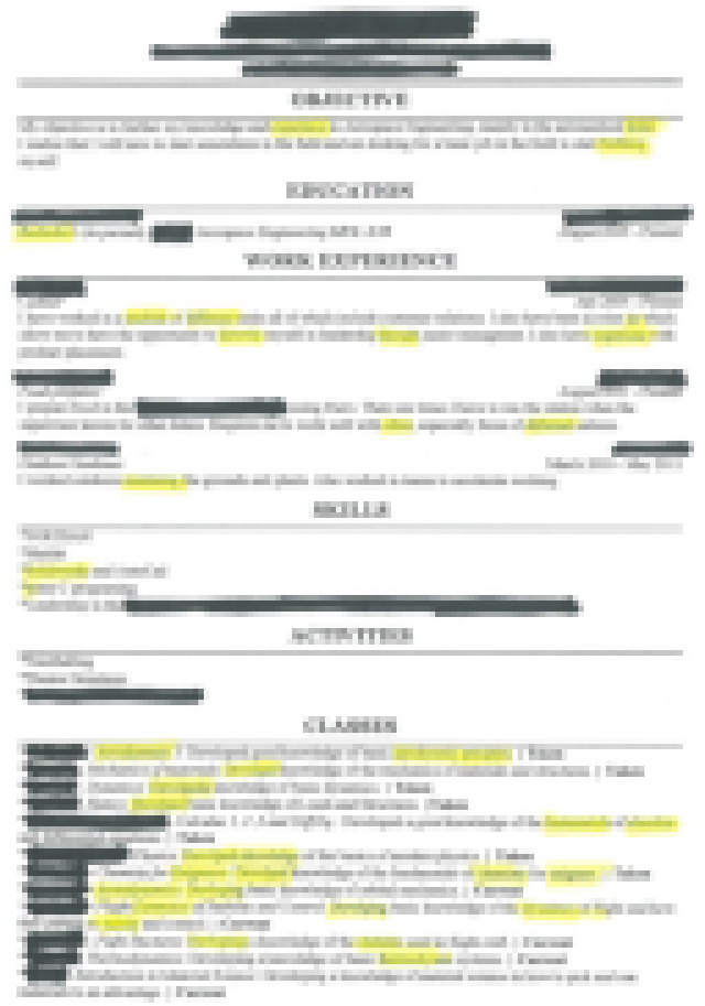 The Worldu0027s Worst Resume. Yellow Highlights Indicate Spelling Errors.  Worst Resume Ever
