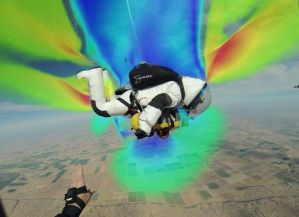 CFD simulation of a skydiver superimposed on a photograph of same. Image from AL.com. Click image for article.