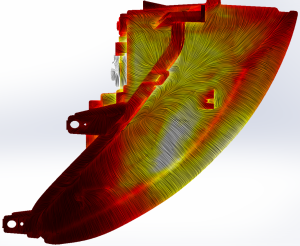 Top view of a car headlight showing temperature distribution and flow streamlines. Image from ElectronicsWeekly.com. See link above.