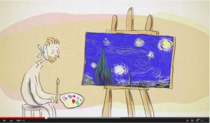 Screen capture from a video that relates Van Gogh's Starry Night to the turbulence in a fluid.