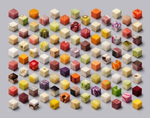 Cubes: discretized food by Lernert & Sander. Image from Lernert & Sander. Click image for source.