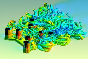 CFD simulation performed by Los Alamos to study vortex induced motion on offshore drilling rigs. Image from Int'l Science Grid This Week. See link above.