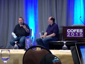 Mark Anderson with Cyon's Brad Holtz (right) during the Q&A after Mark's keynote address.