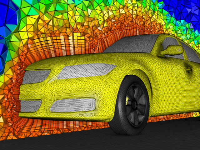 Hybrid volume mesh for the DrivAer geometry colored by element volume.