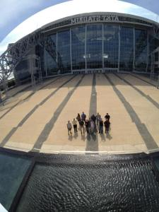This is a selfie of our Pointwise group reflected in Anish Kapoor's Sky Mirror at AT&T Stadium.